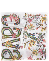 Écharpe en soie imprimée blanche Roberto Cavalli