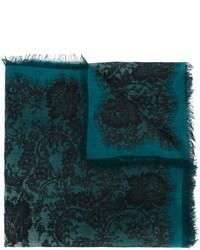 Écharpe en soie imprimée bleu canard