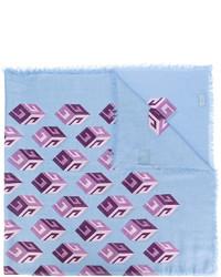 Écharpe en soie imprimée bleu clair Gucci