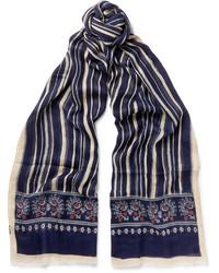 Écharpe en soie imprimée bleu marine Drakes