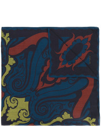 Écharpe en soie imprimée bleu marine Etro