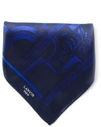 Écharpe en soie imprimée bleu marine Lanvin