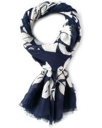 Écharpe en soie imprimée bleu marine Marc Jacobs