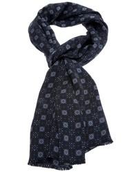 Écharpe en soie imprimée bleu marine Paul Smith