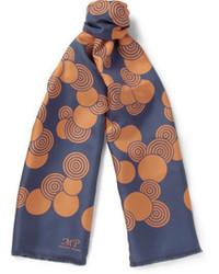 Écharpe en soie imprimée bleu marine Piombo