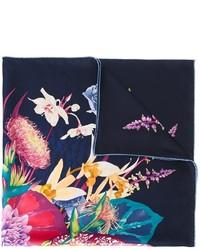 Écharpe en soie imprimée bleu marine Salvatore Ferragamo