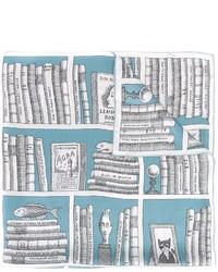 Écharpe en soie imprimée bleue claire Olympia Le-Tan