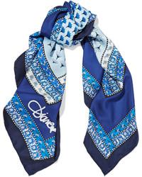 Écharpe en soie imprimée bleue Diane von Furstenberg