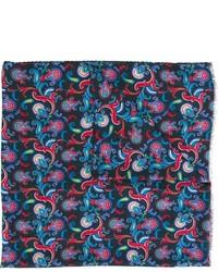 Écharpe en soie imprimée cachemire bleu canard Kiton