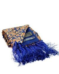 Écharpe en soie imprimée cachemire bleu marine