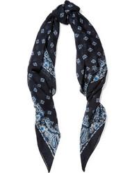 Écharpe en soie imprimée cachemire bleu marine Saint Laurent