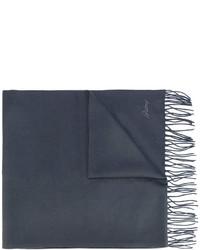 Écharpe en soie imprimée gris foncé Brioni