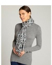 Écharpe en soie imprimée grise