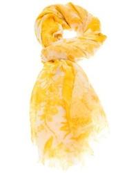 Écharpe en soie imprimée jaune