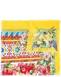 Écharpe en soie imprimée jaune Dolce & Gabbana
