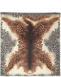 Écharpe en soie imprimée léopard marron clair