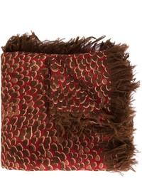 Écharpe en soie imprimée léopard marron foncé Chloé