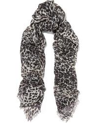 Écharpe en soie imprimée léopard noire Saint Laurent