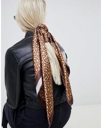 Écharpe en soie imprimée marron ASOS DESIGN