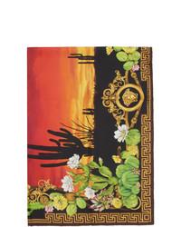 Écharpe en soie imprimée multicolore