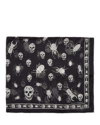 Écharpe en soie imprimée noire et blanche