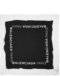 Écharpe en soie imprimée noire et blanche Balenciaga