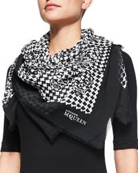 Écharpe en soie imprimée noire