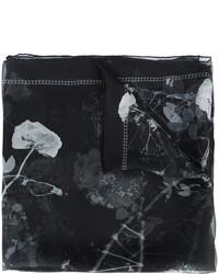 Écharpe en soie imprimée noire Alexander McQueen