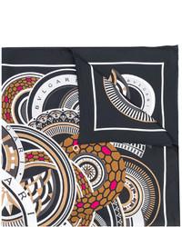 Écharpe en soie imprimée noire Bulgari