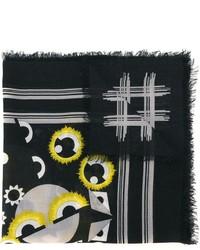Écharpe en soie imprimée noire Fendi