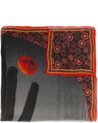 Écharpe en soie imprimée noire Givenchy