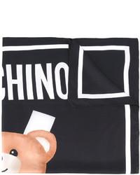 Écharpe en soie imprimée noire Moschino