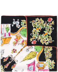 Écharpe en soie imprimée noire Salvatore Ferragamo