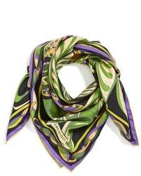 Écharpe en soie imprimée olive