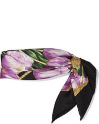 Écharpe en soie imprimée pourpre foncé Dolce & Gabbana