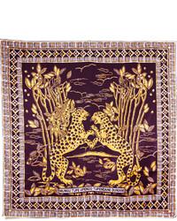 Écharpe en soie imprimée pourpre foncée Valentino