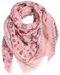 Écharpe en soie imprimée rose