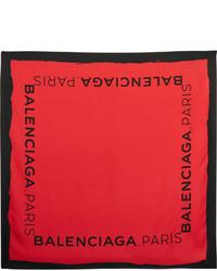 Écharpe en soie imprimée rouge Balenciaga