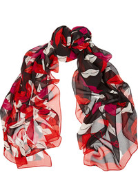 Écharpe en soie imprimée rouge Diane von Furstenberg