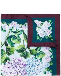Écharpe en soie imprimée turquoise Dolce & Gabbana