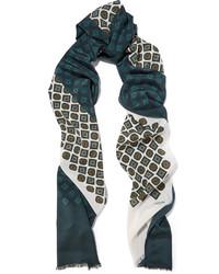 Écharpe en soie imprimée vert foncé Lanvin