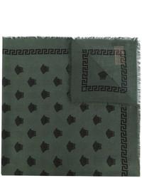Écharpe en soie imprimée vert foncé Versace