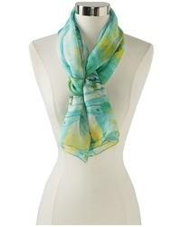 Écharpe en soie imprimée vert menthe