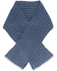 Écharpe en tricot bleue Brunello Cucinelli