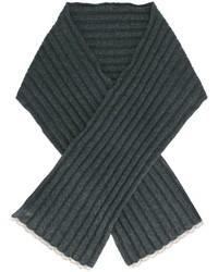 Écharpe en tricot gris foncé Brunello Cucinelli