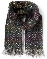 Écharpe en tricot gris foncé Faliero Sarti