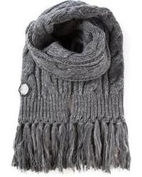 Écharpe en tricot grise Philipp Plein