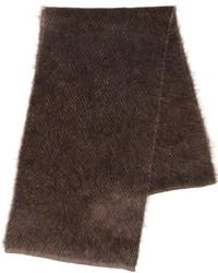 Écharpe en tricot marron foncé