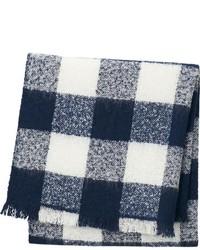 Écharpe en vichy bleu marine et blanc