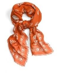 Écharpe imprimé orange